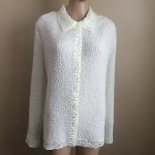 XL Susan Graver Ivory White Crinkle Button-Up Blouse