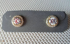 NEW QVC Diamonique cz Sterling/14K Yellow Gold clad 2.00 cttw Halo Stud Earrings