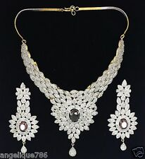 INDIAN BOLLYWOOD DIAMOND & AMETHYST STIMULANT NECKLACE EARRING SET GORGEOUS WOW!