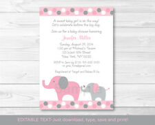 Pink and Gray Polka Dot Elephant Printable Baby Shower Invitation Editable PDF