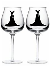 New 2 DRESSES wine glass vinyl stickers Decals 18 Colour choice WEDDING