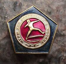 1980 Moscow Russia 12th Summer Olympic Games Pin Badge Pistol Shooting Shot put