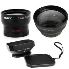37mm Wide Angle Lens + Macro and Tele Lens+Hood for Sony HDR CX160 CX130 XR160