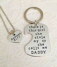 Daddy's Girl She Stole My Heart Keychain Charm Necklace Pendant Set US SELLER