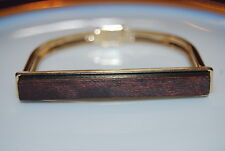 CARA NY RUNWAY COUTURE GOLD TONED METAL AND DARK WOOD MAGNETIC CLASP BRACELET