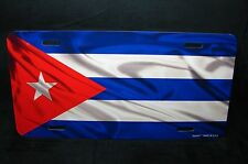 CUBA FLAG METAL CAR LICENSE PLATE TAG  PLACA DE LICENCIA DE BANDERA CUBANA