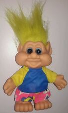 Large Vintage 1991 Yellow hair Troll doll figurine figure 1990s in clothes I.T.B