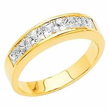 14K Yellow Gold Princess-cut Channel Set Man Made Diamond Ladies Wedding Band