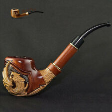 "HAND CARVED, EXCLUSIVE GIFT TOBACCO SMOKING PIPE PEAR "" Dragon "" Made by Artisan"