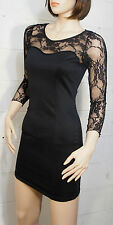 Black Lace 3/4 Sleeve Illusion Sweetheart Neckline Cocktail Clubwear Dress M/L