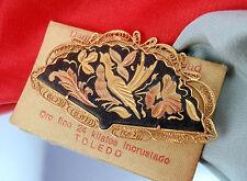 Vintage Spanish Damascene 24KT Gold Filled Fan Brooch