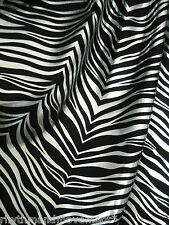 Dance Costume Lycra Fabric Zebra Black and Metallic Silver Print 50cm - 150cm wi