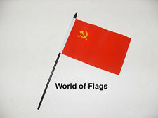 "USSR SMALL HAND WAVING FLAG 6"" x 4"" Russia Russian Crafts Table Desk Display"
