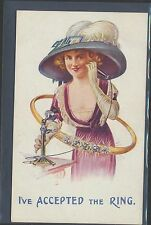 """""""I've Accepted the Ring"""" Pre-1920 Bamforth comic postcard w/ Telephone+Fancy Hat"""