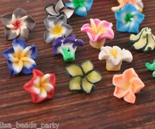 20pcs 15mm Flowers Lily Clay Jewelry Making Findings Loose Spacer Beads Mixed