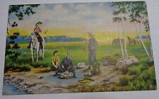 """1941 Dude Larson """"The Lure of the West"""" Postcard  Cowboy cowgirl  horse western"""