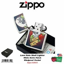 Zippo Love Hate Skull Lighter, White Matte Finish, Windproof #28859