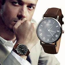 Men's Black Dial Contemporary Analogue Quartz Watch with Grained Leather Strap