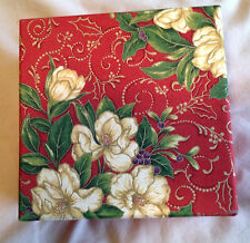 """Gift  Box 7.5"""" Red Floral Square  Fabric Perfect Special  Gift SHIPS FREE"""