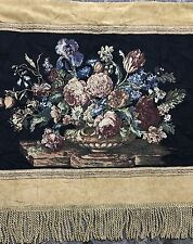 "Antique French Wall Hanging Flower Tapestry 37"" By 44"""