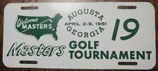 1961 Masters Golf Tournament Augusta Georgia Front Metal License Plate #19 Rare