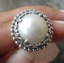 925 Sterling Silver-LH13-Balinese Hand Made Ring White Mabe Pearl Size 7