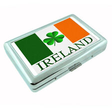 St Patricks Day Metal Silver Cigarette Case D6 Ireland Irish Shamrock Leprechaun