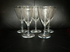 Vintage Set of 5 Heisey Pied Piper Etched Crystal Wine Glasses or Water Goblets