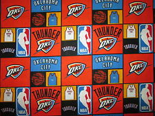 OKLAHOMA THUNDER CHECKED NBA LICENSED QUILTING COTTON FABRIC BTHY