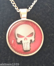 "Punisher Cabachon glass dome Necklace Pendant.20"" chain"