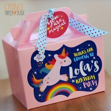 Personalised Children's UNICORN RAINBOW CLOUD Pink Birthday Party Bag Lunch Box