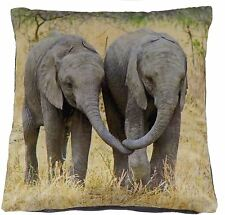 "FUNKY BABY ELEPHANTS ANIMAL GREY BLACK VELVET THICK SOFT CUSHION COVER 17""- 43CM"