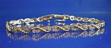 """STERLING SILVER 2-TONE TWISTED ROPE DIAMOND ETERNITY BRACELET, 7.25"""", 0.25CTS"""
