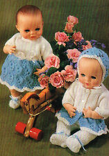 """Dolls clothes knitting pattern for 12"""" baby doll.  Laminated copy. (V Doll 99)"""