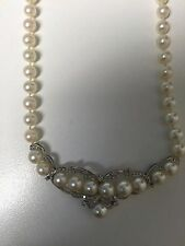"""Necklace 19"""" cultured Akoya Pearls AND  Diamonds IN 14 KT GOLD"""