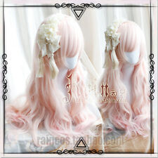 Japanese Harajuku Sweet Lolita Pink Gradient Long curly Cosplay Fairy Wig 68cm