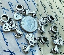 5PC LOT I Love My Siamese Cat & Pawprint Heart Pendants European Dangle Charms