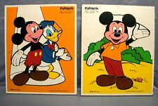 2 Vintage DISNEY Playskool Frame Tray Puzzles MICKEY MOUSE DONALD DUCK