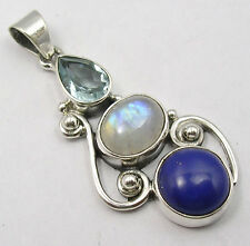925 Solid Sterling Silver Blue Topaz, Rainbow Moonstone, Lapis Lazuli Pendant