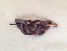 HANDMADE Carved CELTIC WEAVE Wooden Hair Pin Barrette Slide Clip Clasp Rose Wood