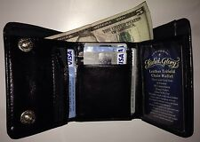 FADED GLORY MEN'S TRIFOLD GENUINE BLACK LEATHER WALLET SKULL WITH CHAIN HOOK