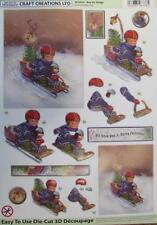 3D A4 Die Cut Paper Tole Decoupage Christmas Boy Sled 2 pictures NoCutting NEW