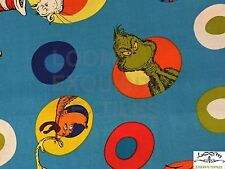 RPG315F RARE Dr Seuss Cat In The Hat Green Eggs Ham Grinch Cotton Quilt Fabric