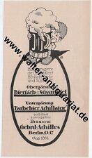 Brauerei Gebr. Achilles Berlin Bier Farbbier Werbeanzeige anno 1926 Reklame