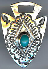 VINTAGE NAVAJO INDIAN SILVER & TURQUOISE STAMPWORK CUT OUT ARROW WATCH FOB
