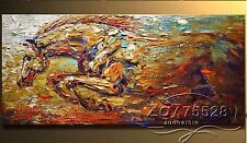 "Hand-painted thick oil Palette knife Animal HORSE Oil Painting /NO Frame 24""x48"""