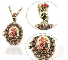 New Fashion Lady's Retro Red Crystal Rose Peacock Locket Pendant Necklace