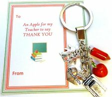 """""""Apple for Teacher"""" Key Ring Thank You Gift End Term Gift card in gift bag"""