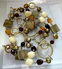 Long LIA SOPHIA Mother of Pearl , Amber Glass , Pearl Gold tone Necklace