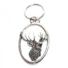 Silver Roaring Stag English Pewter Keyring Handmade In England Key Ring Deer New